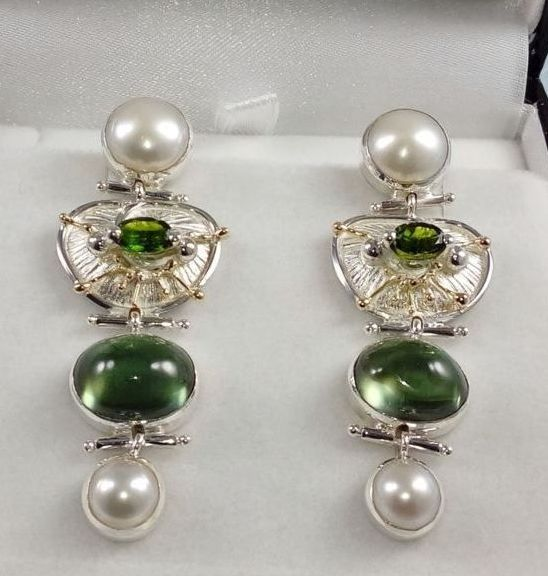 Earrings #2931, sterling silver and 14 karat gold, green tourmaline, fluorite, pearls, original handmade, one of a kind jewelry, art jewelry, Gregory Pyra Piro
