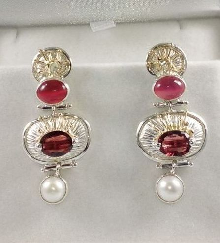 Earrings #2936, sterling silver and 14 karat gold, moonstone, garnet, pearls, original handmade, one of a kind jewelry, art jewelry, Gregory Pyra Piro