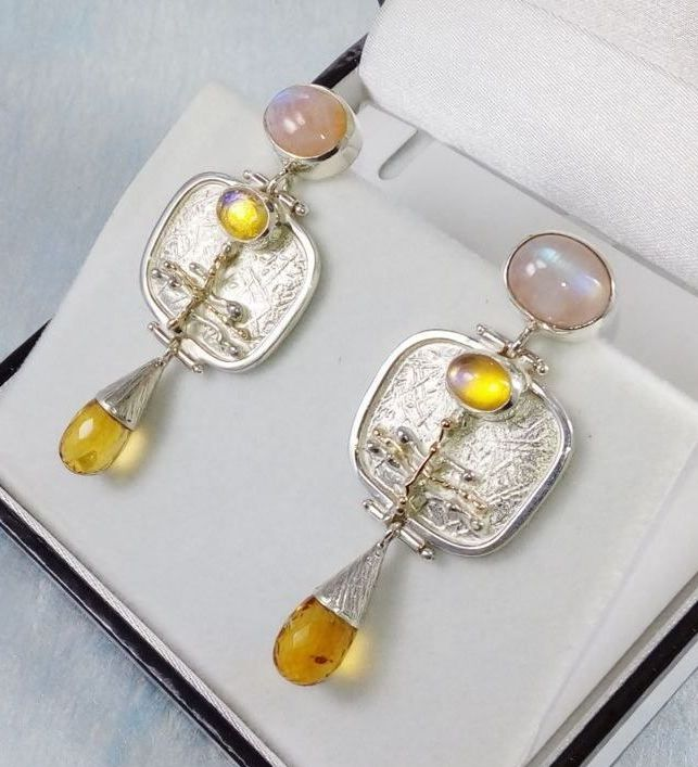 Earrings #6527, sterling silver, gold, moonstone, citrine, original handmade, one of a kind jewellery, art jewellery, Gregory Pyra Piro