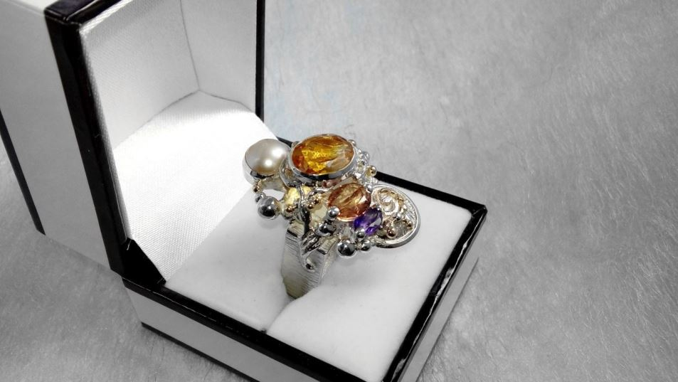Ring #4291, sterling silver, gold, citrine, tourmaline, amethyst, pearl, original handmade, one of a kind jewellery, art jewellery, Gregory Pyra Piro