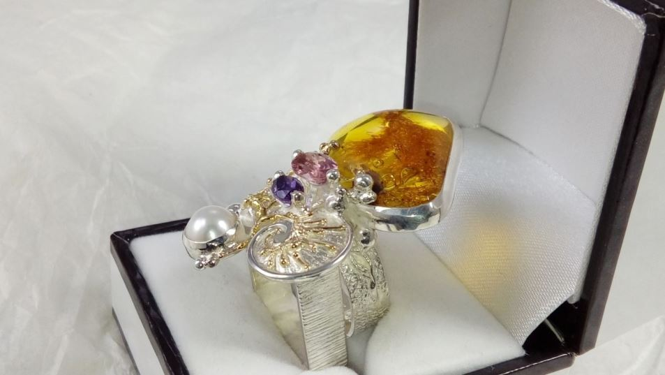 Ring #53869 original handmade in sterling silver with solid 14 karat gold, amber, amethyst, pink tourmaline, pearl, Gregory Pyra Piro