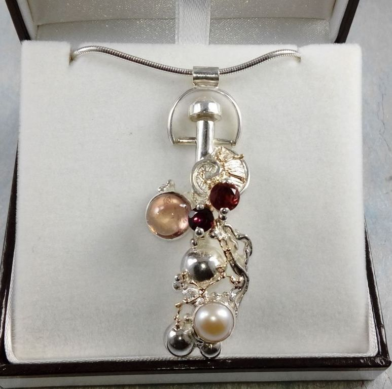 Perfume Bottle Pendant #8930, sterling silver, gold, tourmaline, garnet, pearl, original handmade, one of a kind jewellery, art jewellery, Gregory Pyra Piro