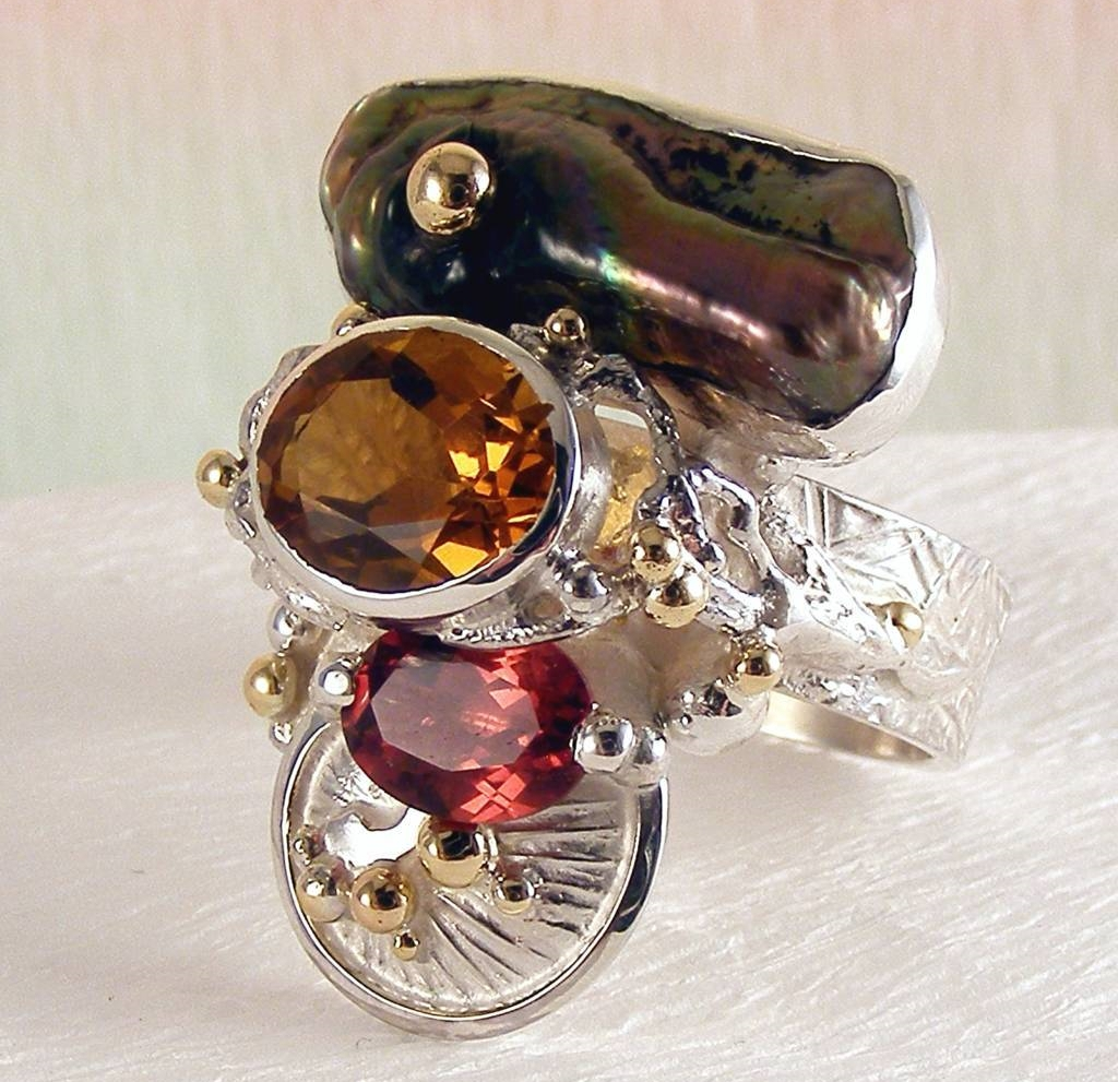 original maker's handcrafted jewellery, gregory pyra piro ring 3292, sterling silver, gold, citrine, garnet, pearl, fine craft gallery jewellery for sale, art and craft gallery artisan handcrafted jewellery for sale, jewellery with ocean and seashell theme