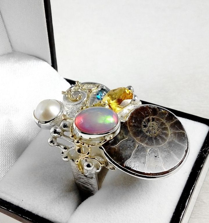 Ring #374291, sterling silver, gold, ammonite, opal, citrine, blue topaz, pearl, original handmade, one of a kind jewellery, art jewellery, Gregory Pyra Piro