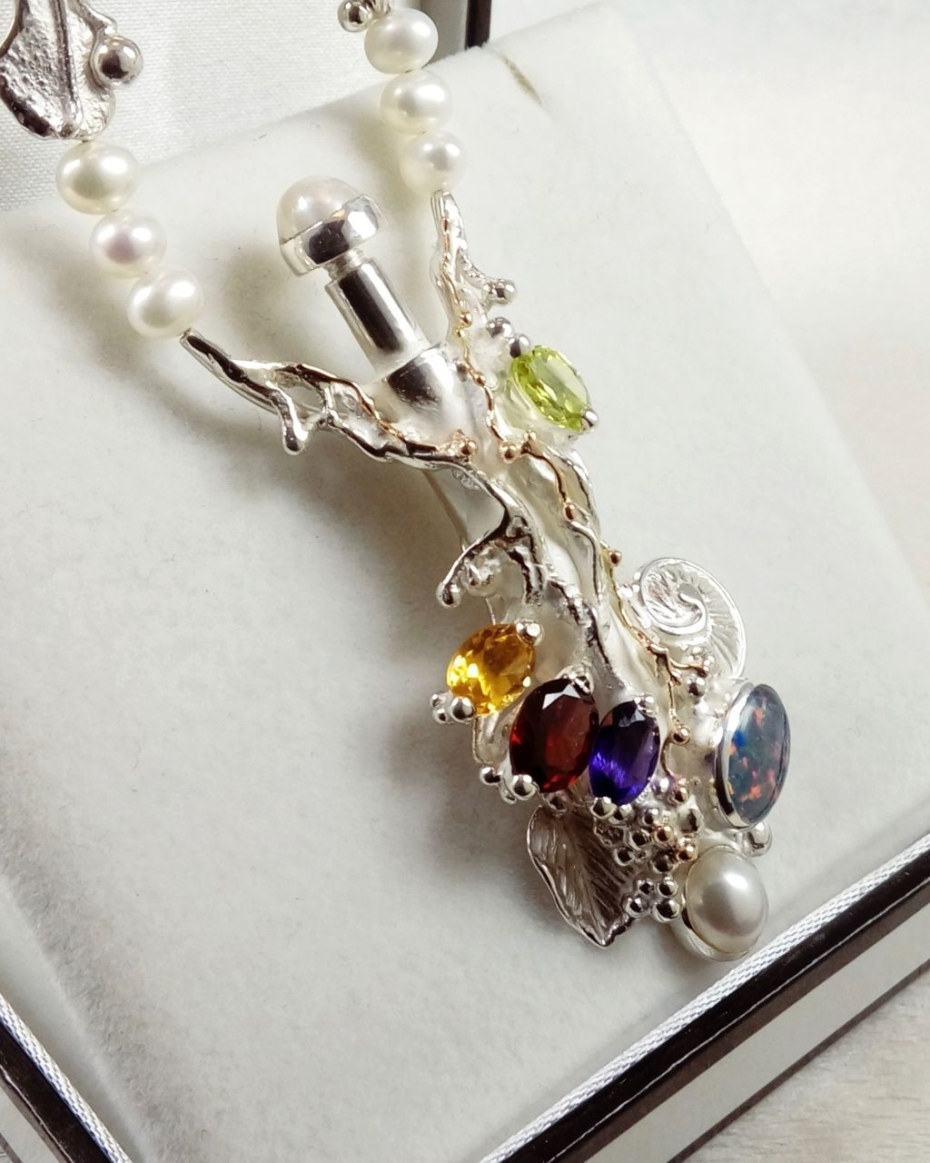 gregory pyra piro perfume bottle pendant #4401, jewellery delivered to your home in Ireland, jewellery delivered to your home in Cork, jewellery delivered to your home in Dublin, jewellery with home delivery in Galway, jewellery with home delivery in Dublin, jewellery with home delivery in Belfast, jewellery sold in art galleries, jewellery handcrafted by artisan, jewellery handcrafted from gold and silver, perfume bottle made from silver and gold, perfume bottle with pearls, perfume bottle pendant, jewellery with opal and gemstones, pendant with amethyst and garnet, pendant with citrine and garnet, necklace with pearls and faceted gemstones, necklace with pearls and opal