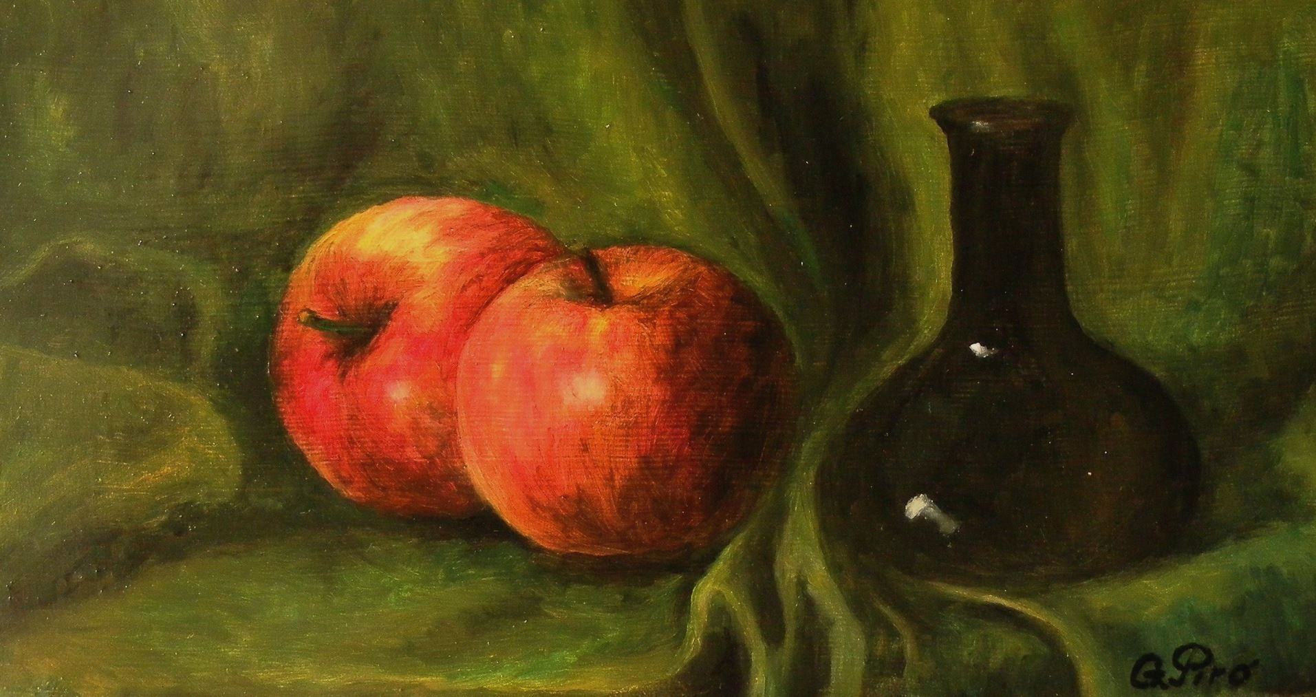 Oil Painting, Apples and Bottle, Gregory Pyra Piro