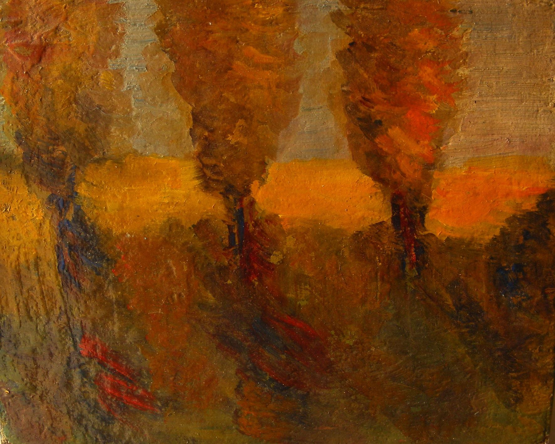 Oil Painting, Three Trees, Stanisław Pyra Piro