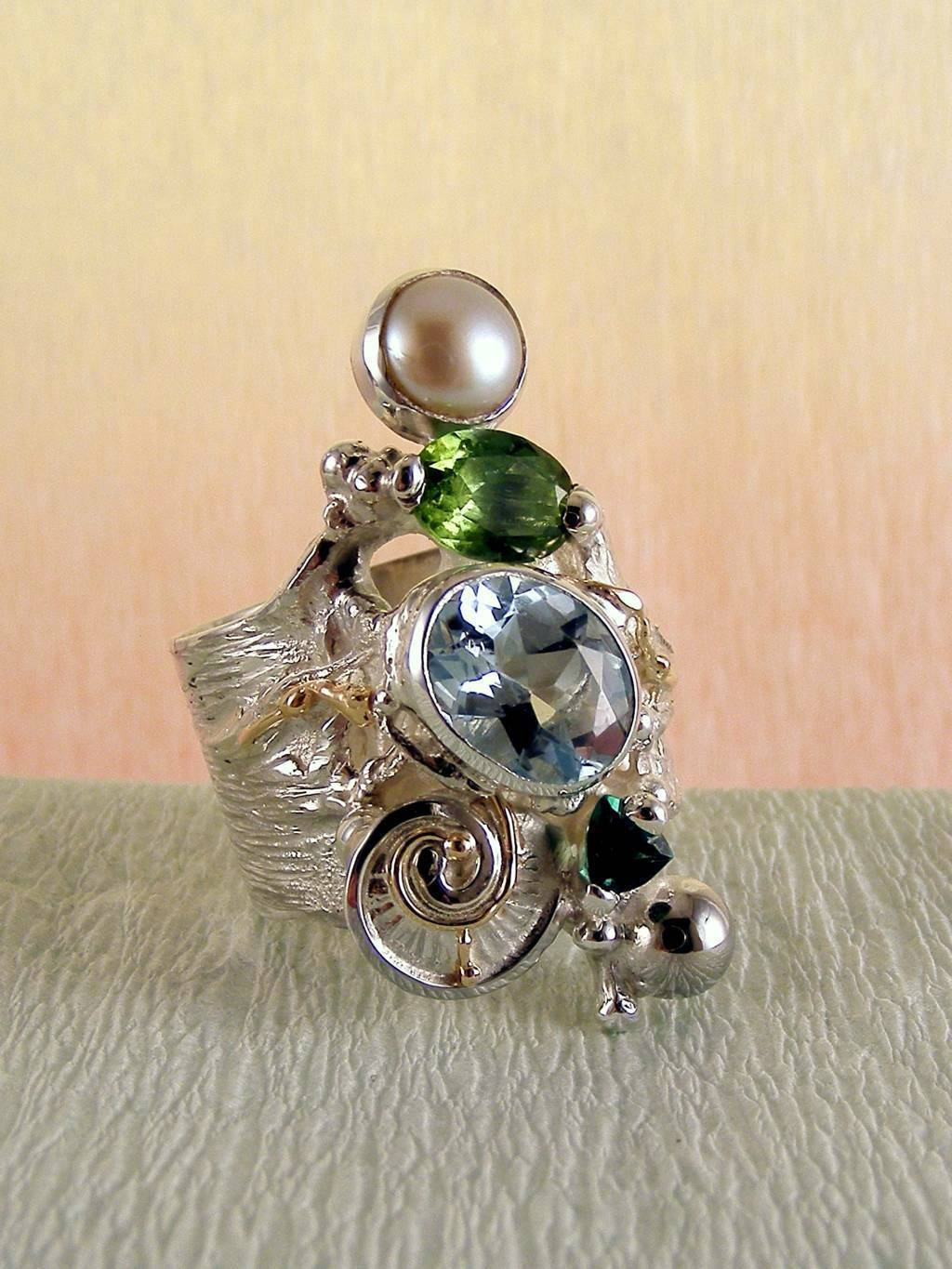 Ring with Tourmaline #1441, Original Handcrafted, Sterling Silver and Gold, Tourmaline, Peridot, Blue Topaz, Pearl