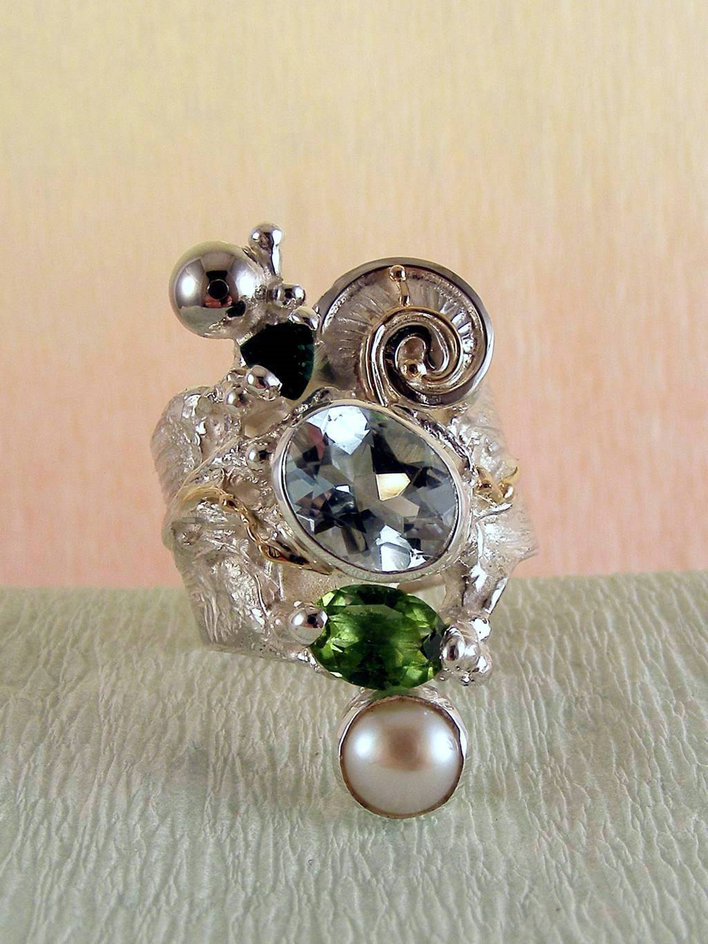 One of a Kind Original Handmade Band Ring 1441 in Sterling Silver and 14 Karat Gold with Green Tourmaline, Blue Topaz, Peridot, Pearl