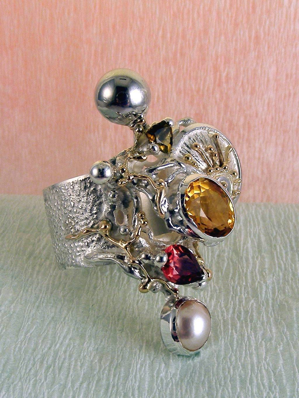 Original Handcrafted, Sterling Silver and Gold, Green Tourmaline, Garnet, Citrine, Pearl, Ring with Citrine and Garnet #9435
