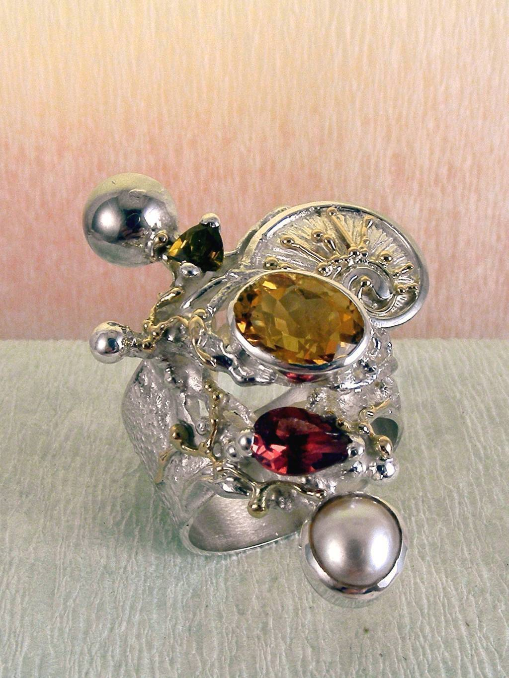 Ring with Tourmaline #9435, Original Handcrafted, Sterling Silver and Gold, Tourmaline, Garnet, Citrine, Pearl