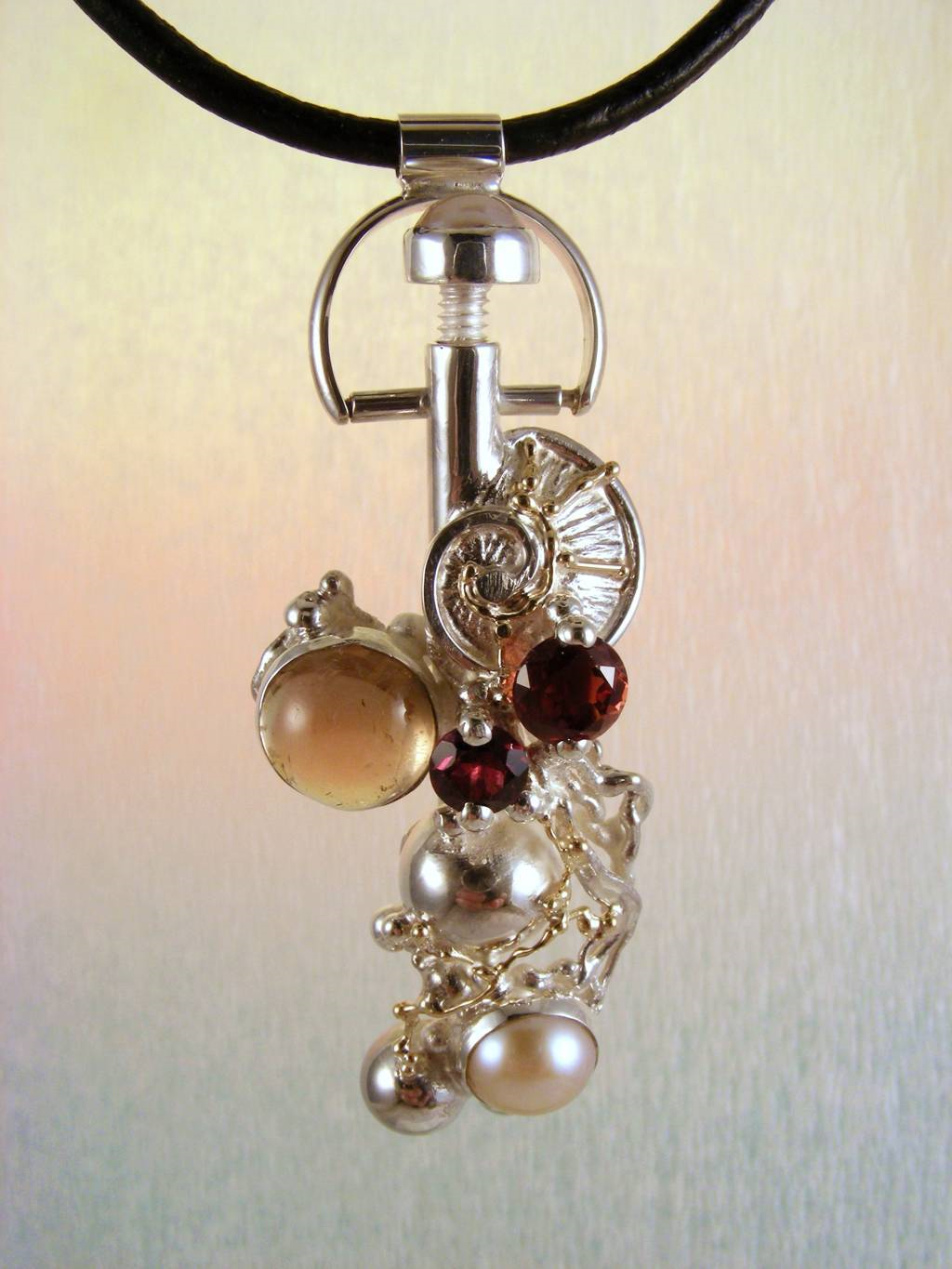 Perfume Bottle Pendant with Tourmaline 8930, Original Handcrafted, Sterling Silver and Gold, Pink Tourmaline, Garnet, Rhodolite, Pearls