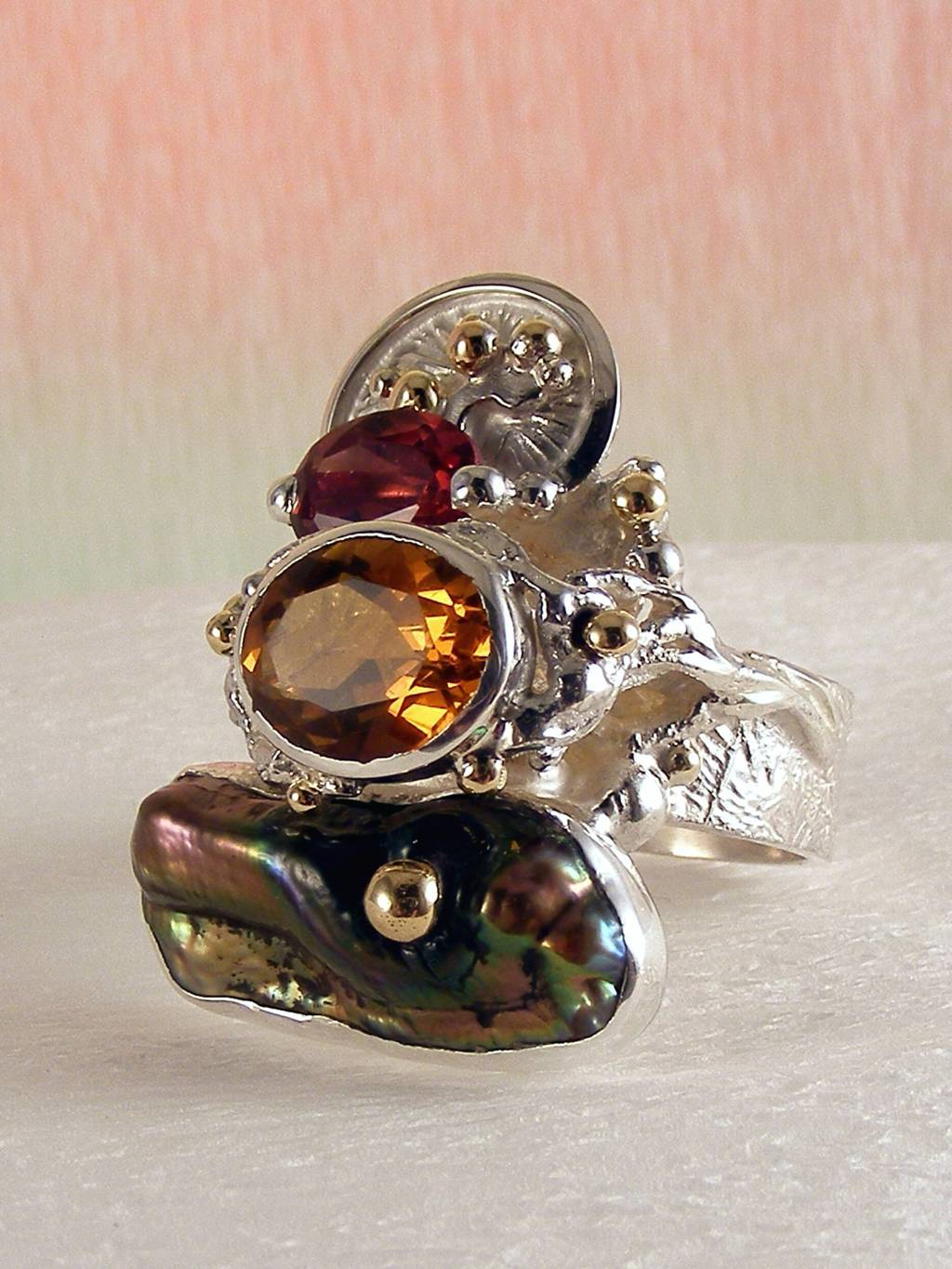 Original Handcrafted, Sterling Silver and Gold, Citrine, Garnet, Pearl, Ring with Citrine and Garnet #3292