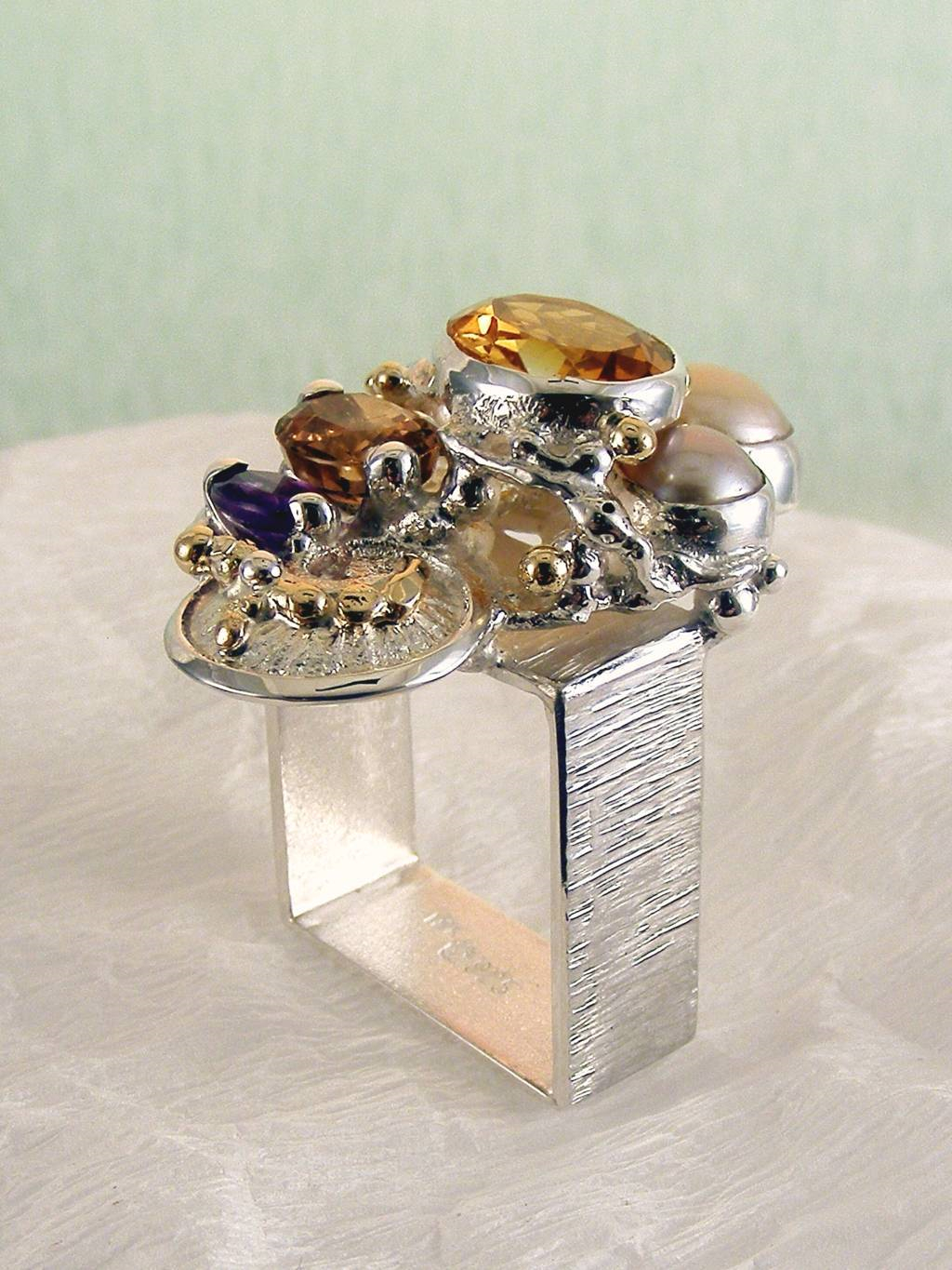 Original Handmade in Sterling Silver and 18 Karat Gold with Amethyst, Citrine, Pink Tourmaline, Pearls, Amethyst and Blue Topaz One of a Kind Original Handmade Ring #4291