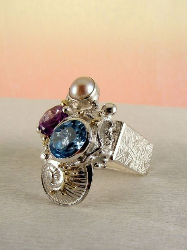 Sterling Silver, 14 Karat Gold, Blue Topaz, Amethyst, Pearl, Amethyst and Blue Topaz One of a Kind Original Handmade Ring #2855