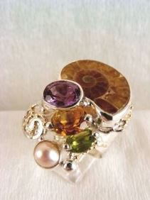 Follow us, Join us on Facebook, and visit http://www.designerartjewellery.com, Gregory Pyra Piro One of a Kind Handmade Jewellery in London in Silver and Gold, Bespoke Jewellery with Semi Precious Stones, #Ammonite Band #Ring 5240