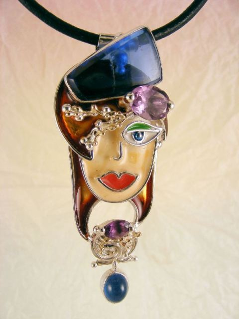 Original Handmade Pendant in Sterling Silver and Gold with Enamel and Gemstones