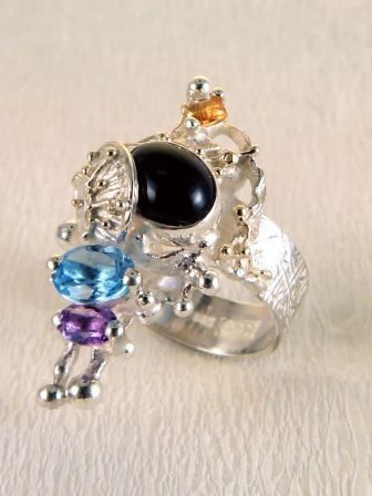 One of a Kind Original Handmade Ring in Sterling Silver and Solid 14 Karat Gold with Blue Topaz, Amethyst, Iolite, and Citrine. 4030