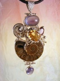 Follow us, Join us on Facebook, and visit http://www.designerartjewellery.com, Gregory Pyra Piro One of a Kind Handmade Jewellery in London in Silver and Gold, Bespoke Jewellery with Semi Precious Stones, #Ammonite #Pendant 6852