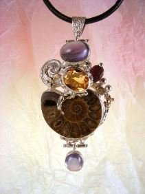Follow us, Join us on Facebook, and visit http://www.designerartjewellery.com, Gregory Pyra Piro One of a Kind Original #Handmade #Sterling #Silver and #Gold, Bespoke Jewellery with Semi Precious Stones, #Ammonite #Pendant 6852