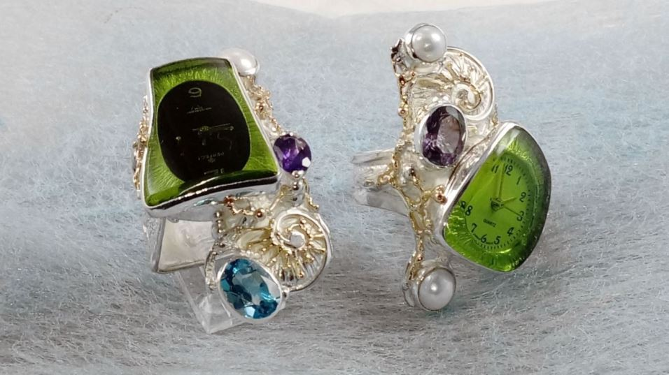 Ring with Watch #5381 and #5382, original handmade in sterling silver with solid 14 karat gold, amethyst, blue topaz, pearl