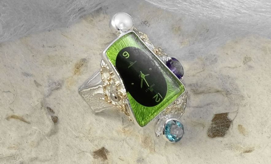 Ring with Watch #5281, original handmade in sterling silver with solid 14 karat gold, amethyst, blue topaz, pearl