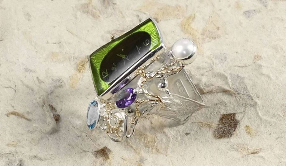 Gregory Pyra Piro Square Ring 5381 in Sterling Silver and 14 Karat Gold with Amethyst, Blue Topaz, and Pearl