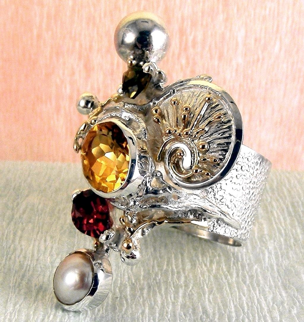 Ring #9435, sterling silver, gold, citrine, garnet, pearl, where to buy artisan soldered and reticulated mixed metal jewellery, Gregory Pyra Piro artisan soldered and reticulated jewellery