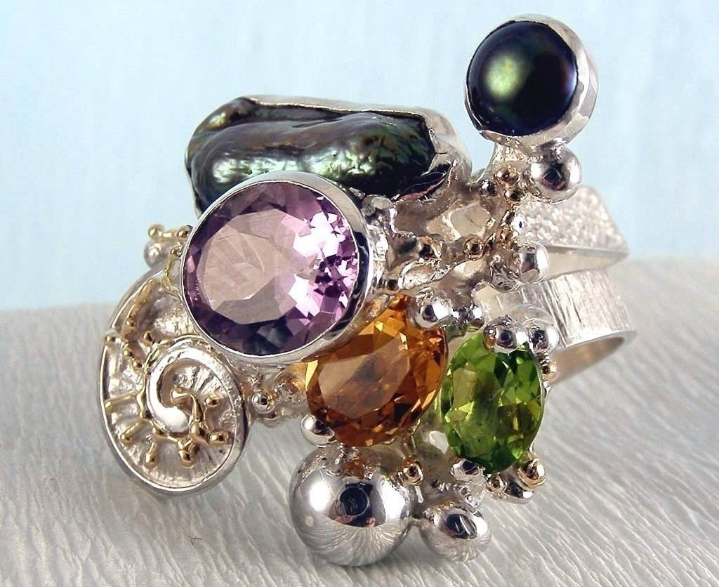 Ring #1565, sterling silver, gold, peridot, citrine, amethyst, pearls, where to buy artisan soldered and reticulated mixed metal jewellery, Gregory Pyra Piro artisan soldered and reticulated jewellery