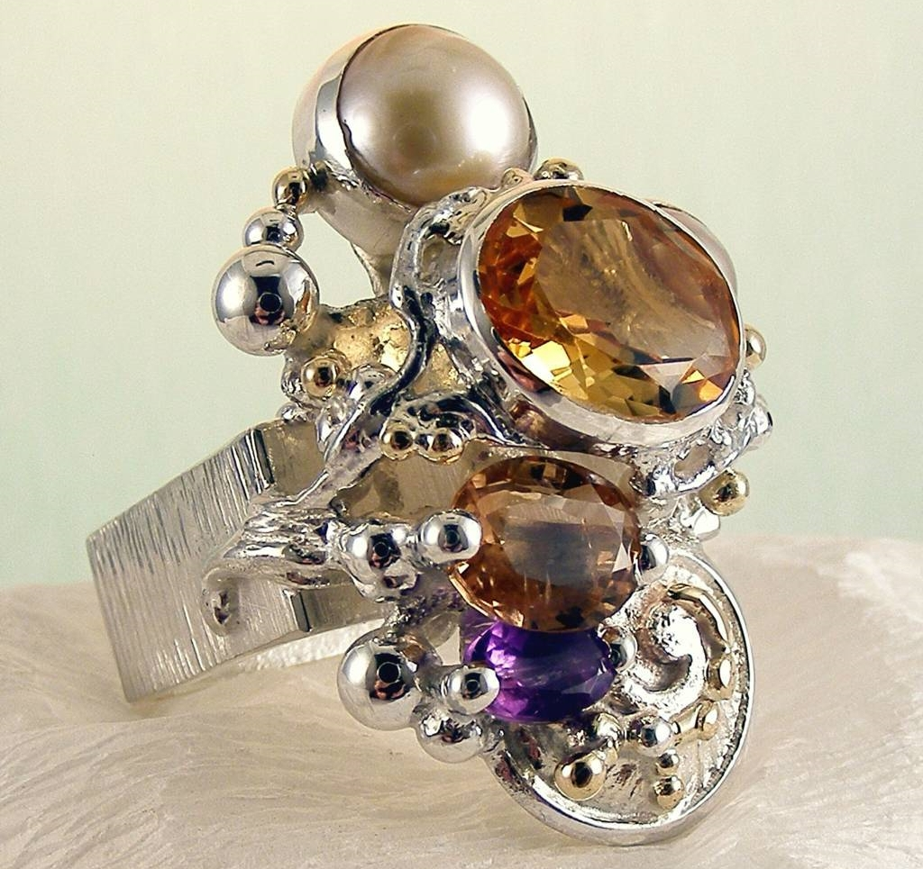 Ring #4291, sterling silver, gold, citrine, tourmaline, amethyst, pearl, where to buy artisan soldered and reticulated mixed metal jewellery, Gregory Pyra Piro artisan soldered and reticulated jewellery