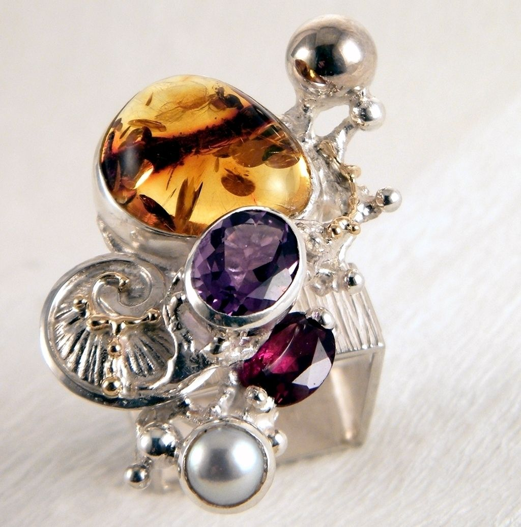 Ring #1710, sterling silver, gold, amber, garnet, amethyst, pearl, where to buy artisan soldered and reticulated mixed metal jewellery, Gregory Pyra Piro artisan soldered and reticulated jewellery