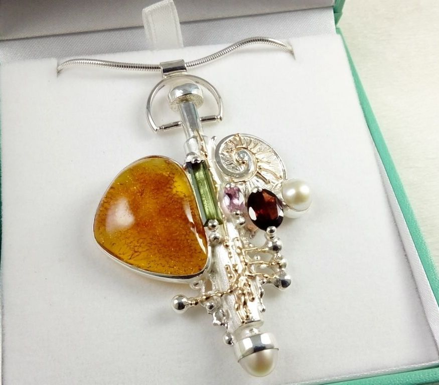 a collectible, one of a kind, perfume bottle pendant 365429, sterling silver, 14k gold, amber, green tourmaline, pink tourmaline, garnet, pearls, Gregory Pyra Piro
