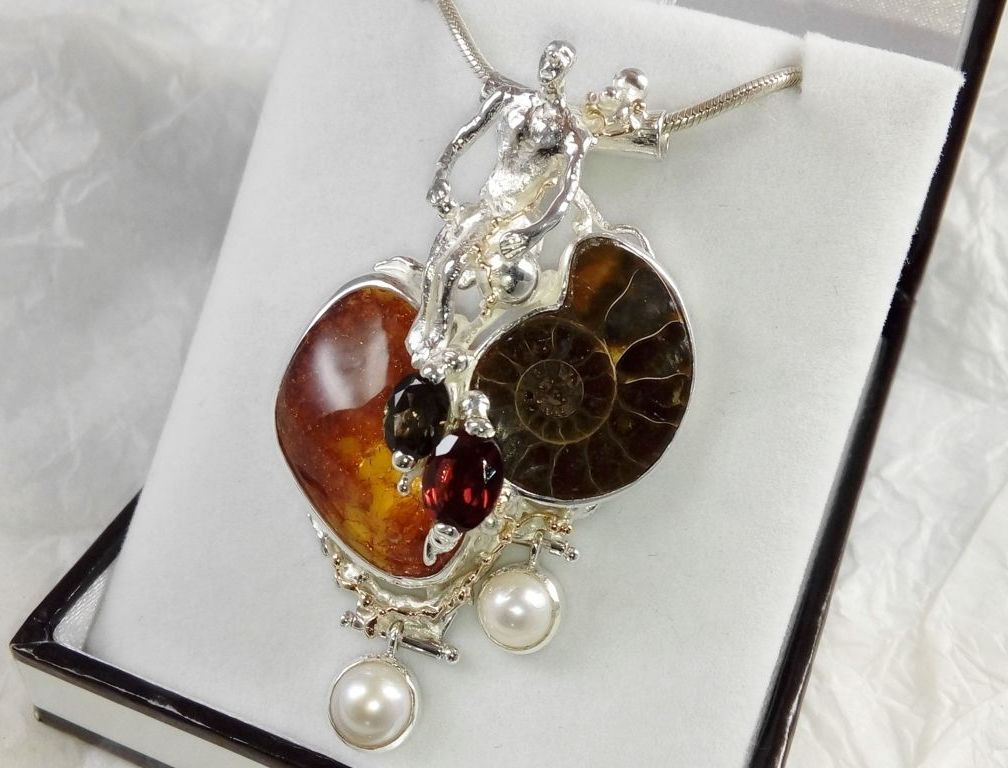 Pendant #68375, time traveler, sterling silver and 14 karat gold, amber, ammonite, garnet, green tourmaline, pearls, where to buy artisan soldered and reticulated mixed metal jewellery, Gregory Pyra Piro artisan soldered and reticulated jewellery