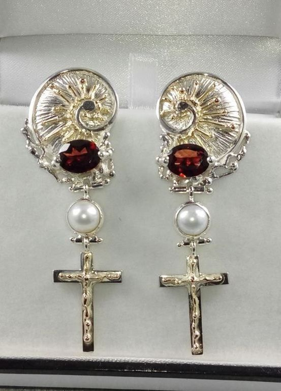 where to buy artisan reticulated mixed metal earrings, artisan reticulated and soldered earrings #4386, sterling silver, gold, garnet, pearls, where to buy artisan soldered and reticulated mixed metal jewellery, Gregory Pyra Piro artisan soldered and reticulated jewellery