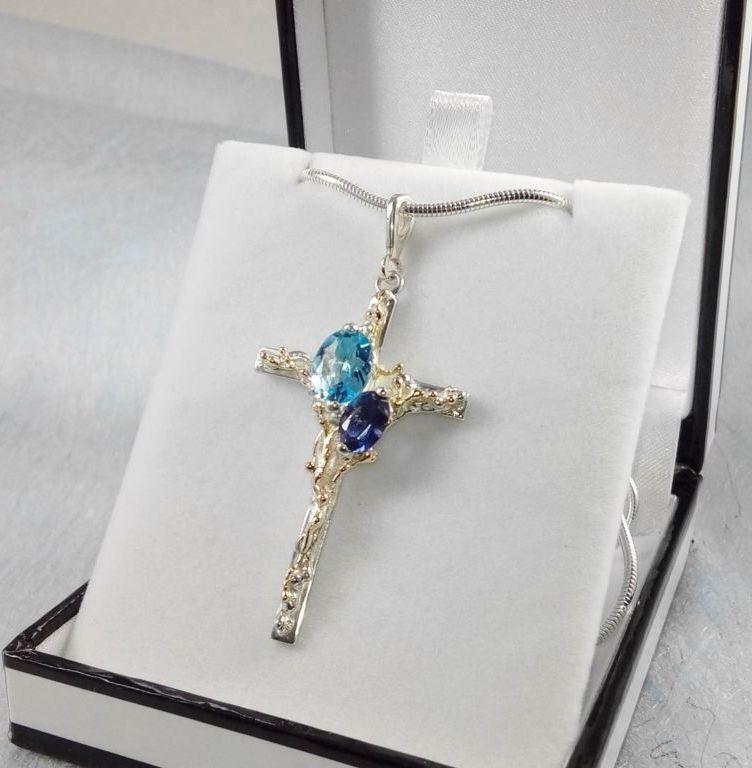 Cross Pendant #3491, sterling silver, gold, blue topaz, iolite, original handmade, one of a kind jewellery, art jewellery, Gregory Pyra Piro