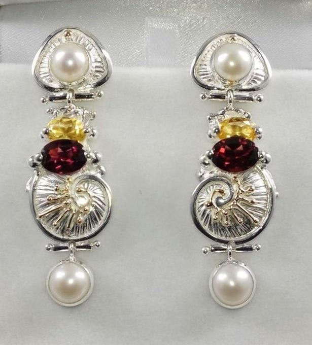 where to buy artisan reticulated mixed metal earrings, artisan reticulated and soldered earrings #2932, sterling silver and 14 karat gold, citrine, garnet, pearls, original handmade, one of a kind jewelry, art jewelry, Gregory Pyra Piro