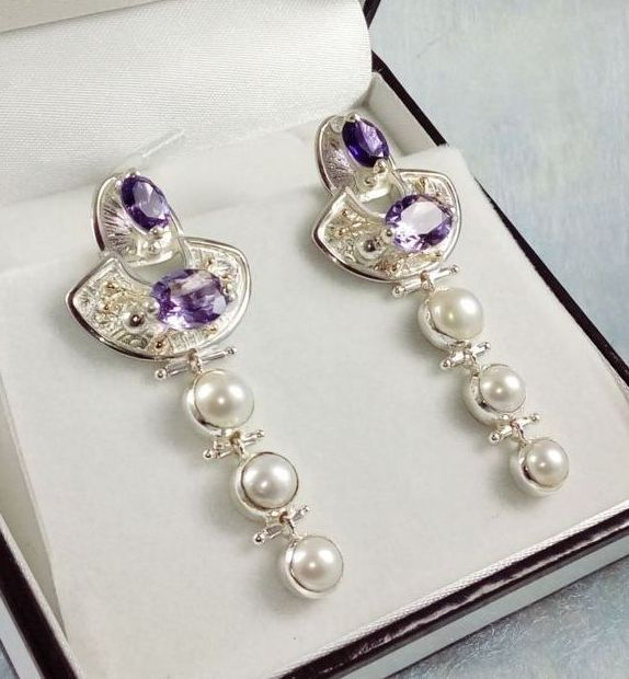 Earrings #2934, sterling silver and 14 karat gold, amethysts, pearls, original handmade, one of a kind jewelry, art jewelry, Gregory Pyra Piro