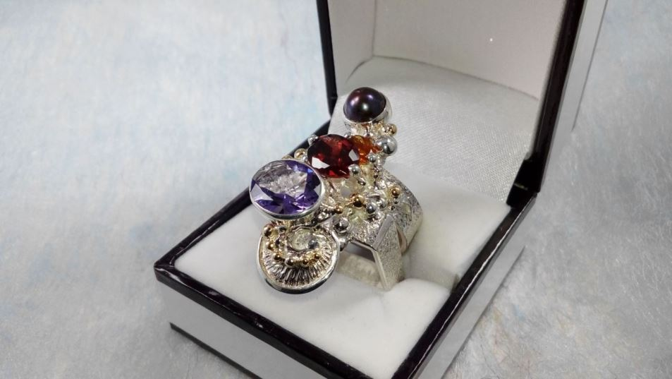 Ring #2631, sterling silver, gold, amethyst, garnet, citrine, pearl, where to buy artisan soldered and reticulated mixed metal jewellery, Gregory Pyra Piro artisan soldered and reticulated jewellery