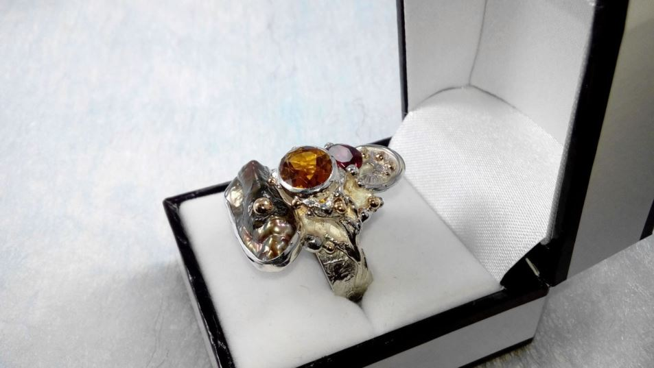 Ring #3292, sterling silver, gold, citrine, garnet, pearl, where to buy artisan soldered and reticulated mixed metal jewellery, Gregory Pyra Piro artisan soldered and reticulated jewellery