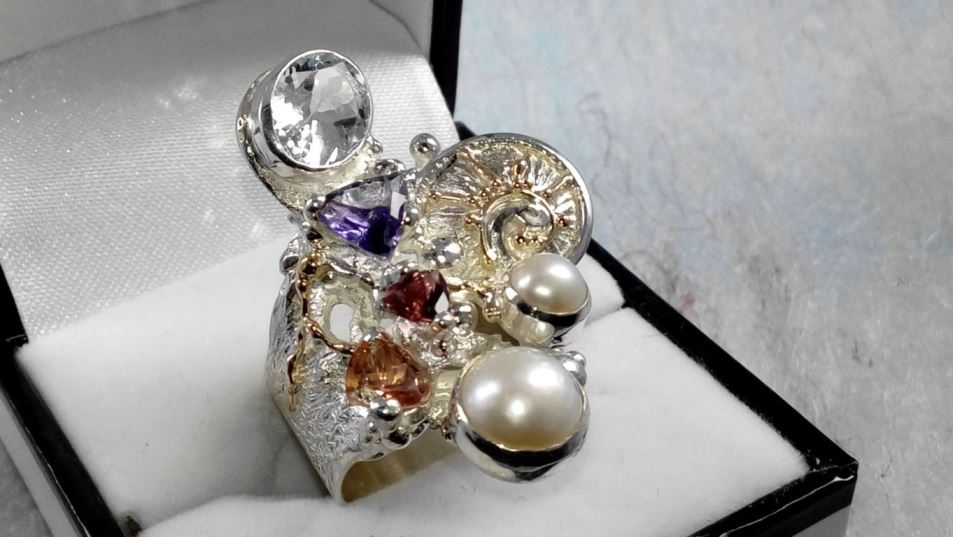 Ring #2050, sterling silver, gold, amethyst, garnet, tourmaline, blue topaz, pearl, original handmade, one of a kind jewellery, art jewellery, Gregory Pyra Piro