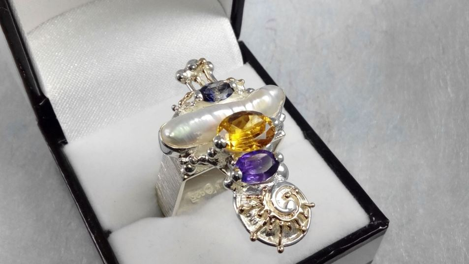 Ring #1725, sterling silver, gold, amethyst, iolite, citrine, pearl, where to buy artisan soldered and reticulated mixed metal jewellery, Gregory Pyra Piro artisan soldered and reticulated jewellery
