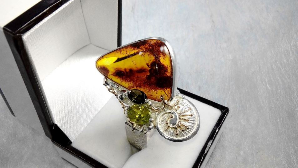 Ring #30164, sterling silver and 14 karat gold, amber, peridot, green tourmaline, where to buy artisan soldered and reticulated mixed metal jewellery, Gregory Pyra Piro artisan soldered and reticulated jewellery