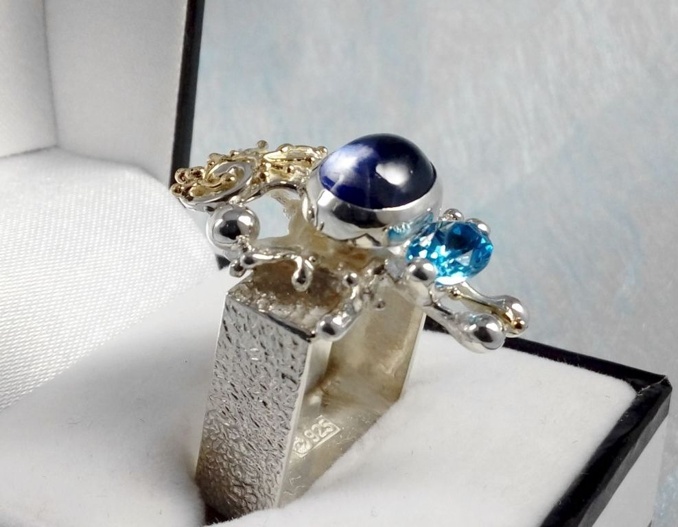 Ring #1625, sterling silver, gold, amethyst, blue topaz, where to buy artisan soldered and reticulated mixed metal jewellery, Gregory Pyra Piro artisan soldered and reticulated jewellery