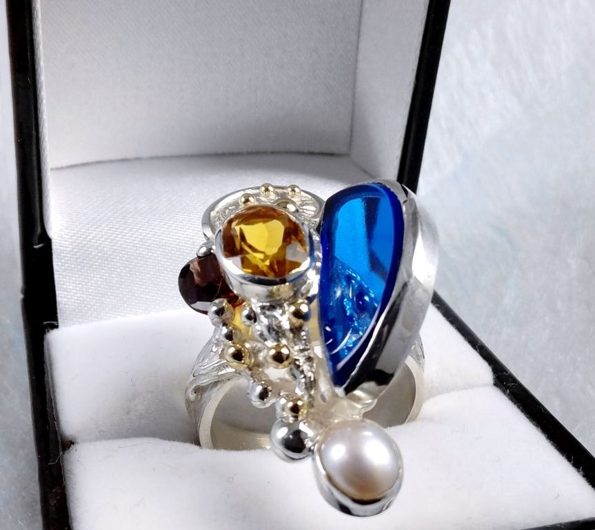 Ring #3624, sterling silver, gold, citrine, garnet, pearl, glass, where to buy artisan soldered and reticulated mixed metal jewellery, Gregory Pyra Piro artisan soldered and reticulated jewellery