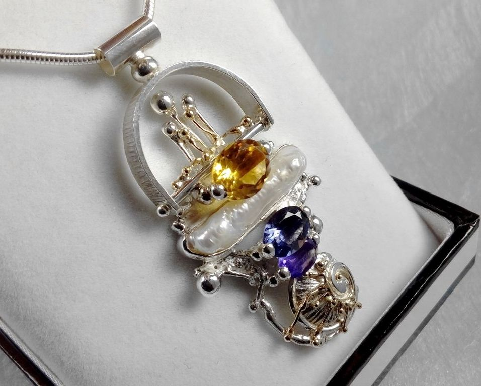 Pendant #2650 and Ring #1725 Set, sterling silver, gold, amethyst, iolite, citrine, pearl, original handmade, one of a kind jewellery, art jewellery, Gregory Pyra Piro