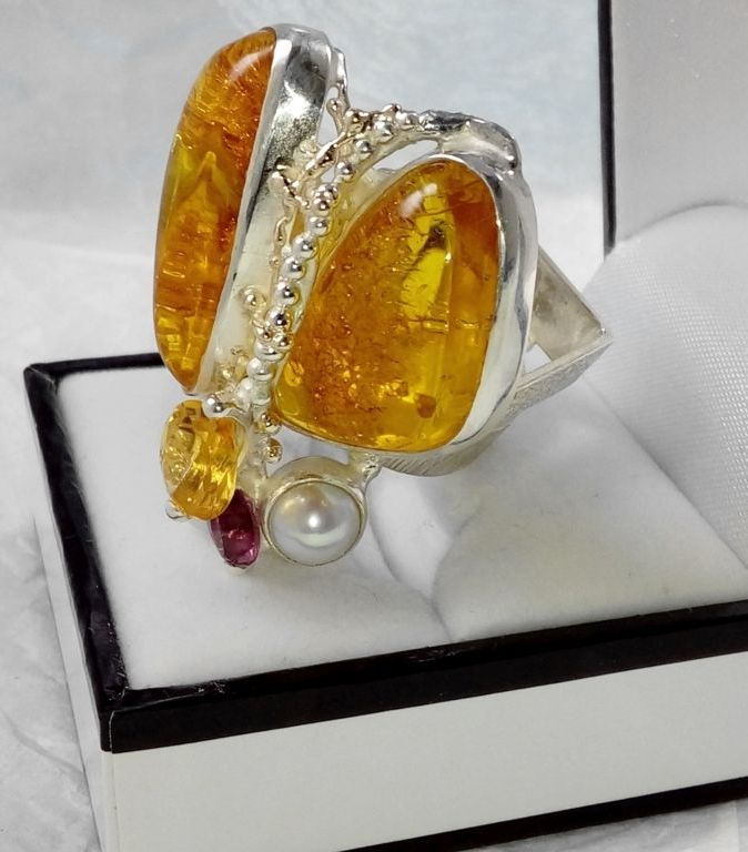 One of a kind original handcrafted with superb detail craftsmanship and superb quality finish, only one available ring #43926, sterling silver, 14 karat gold, amber, rhodolite, citrine, pearls, some may ask are there bugs in the amber, but here the ring is that insect bug itself