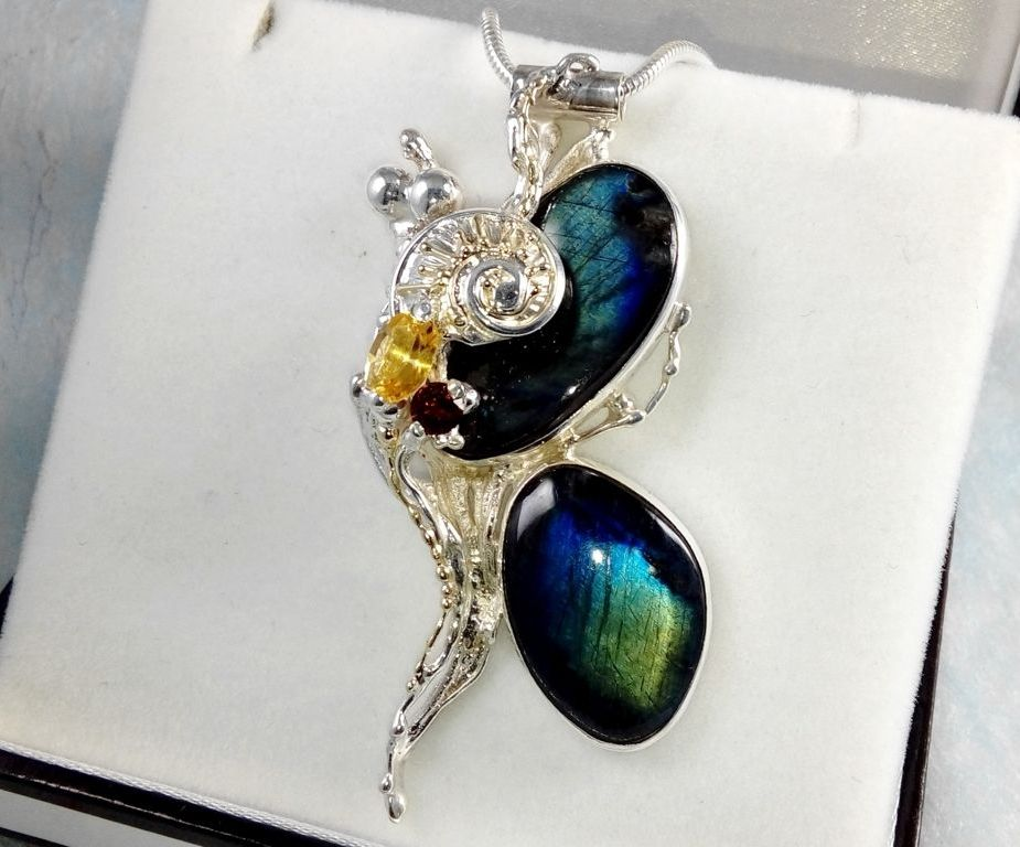 one of a kind pendant #35843, sterling silver, 14 karat gold, labrodirite, garnet, citrine, gregory pyra piro