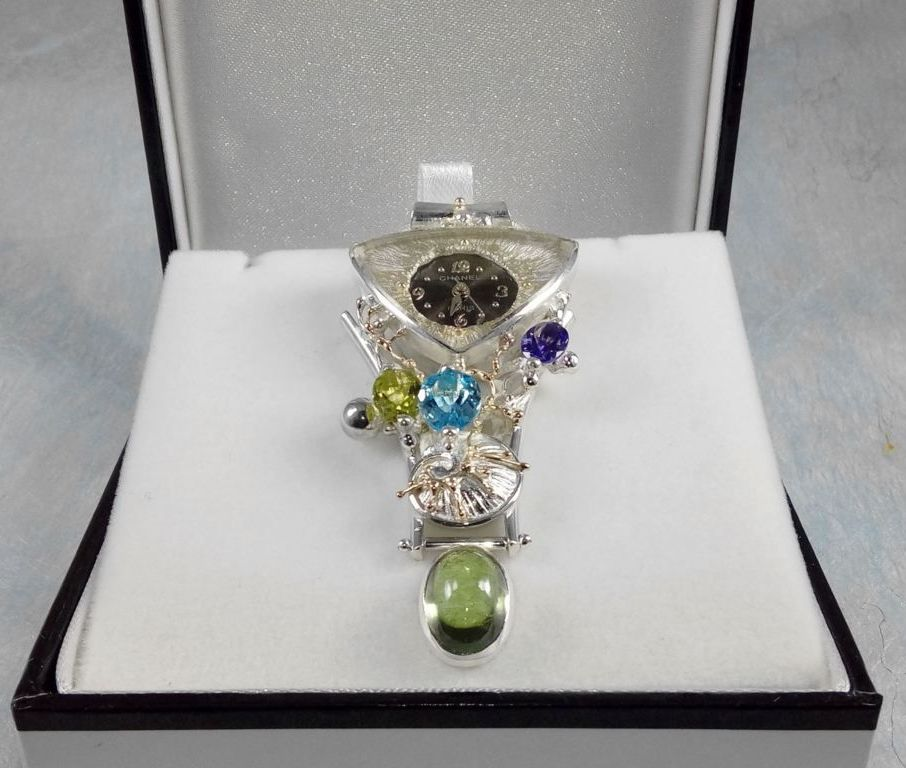 Pendant with Watch Movement #749361, sterling silver, gold, peridot, blue topaz, amethyst and, fluorite, where to buy artisan soldered and reticulated mixed metal jewellery, Gregory Pyra Piro artisan soldered and reticulated jewellery