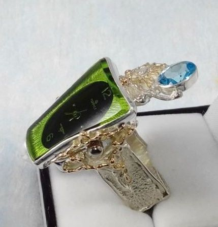 Ring with Watch Movement #5381, sterling silver, gold, blue topaz, amethyst, where to buy artisan soldered and reticulated mixed metal jewellery, Gregory Pyra Piro artisan soldered and reticulated jewellery