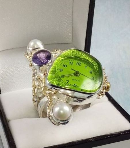 Ring with Watch Movement #5382, sterling silver, gold, amethyst, pearl, where to buy artisan soldered and reticulated mixed metal jewellery, Gregory Pyra Piro artisan soldered and reticulated jewellery